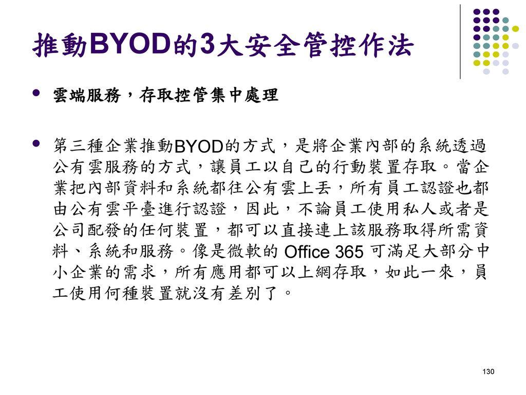 推動BYOD的3大安全管控作法 雲端服務,存取控管集中處理