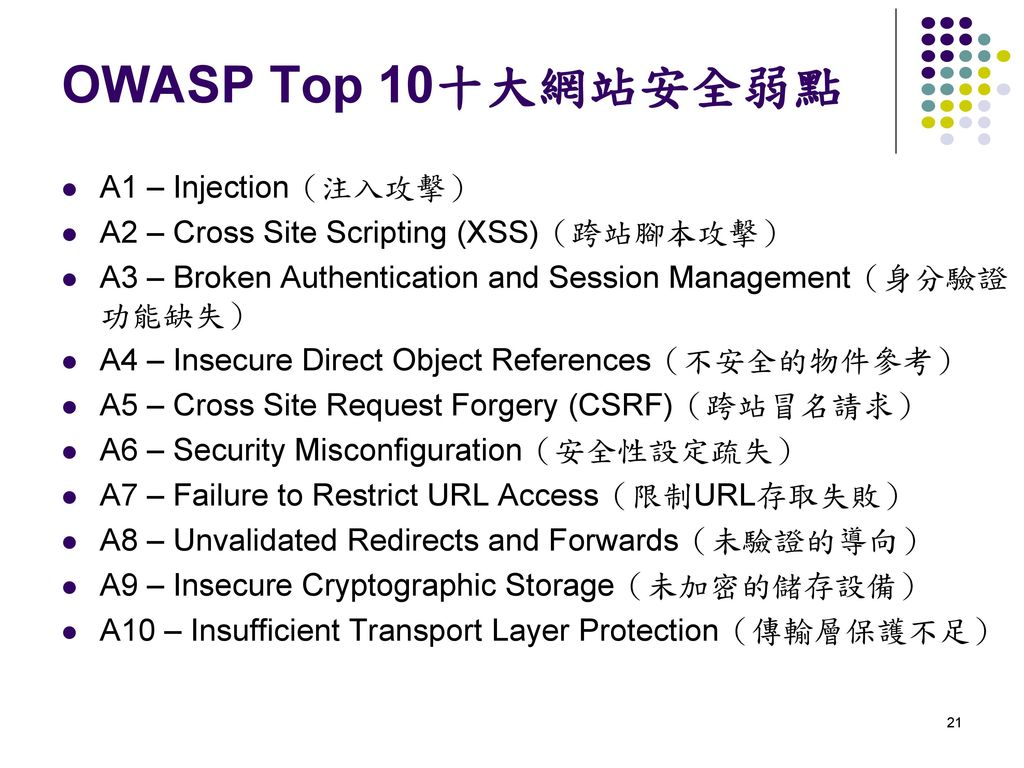 OWASP Top 10十大網站安全弱點 A1 – Injection(注入攻擊)