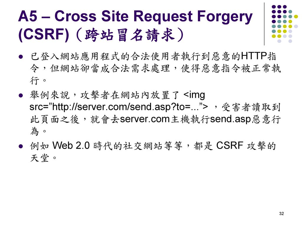 A5 – Cross Site Request Forgery (CSRF)(跨站冒名請求)
