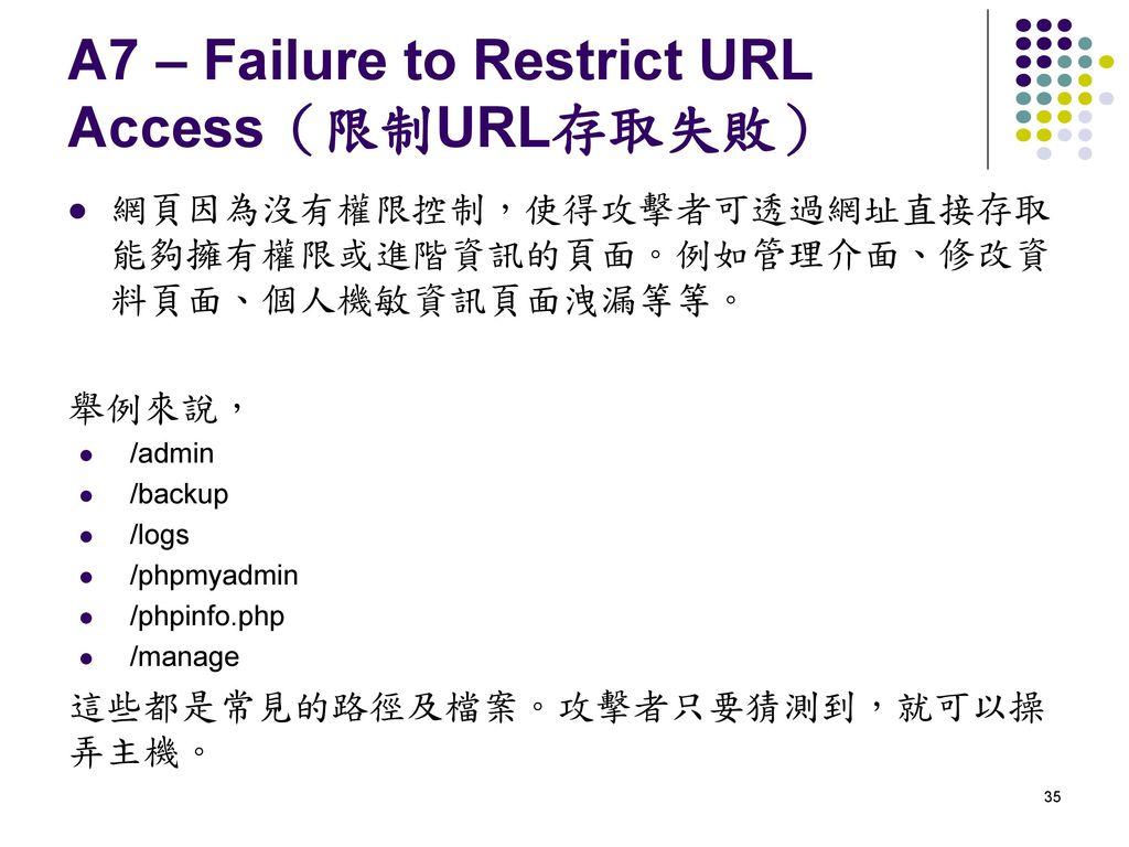A7 – Failure to Restrict URL Access(限制URL存取失敗)