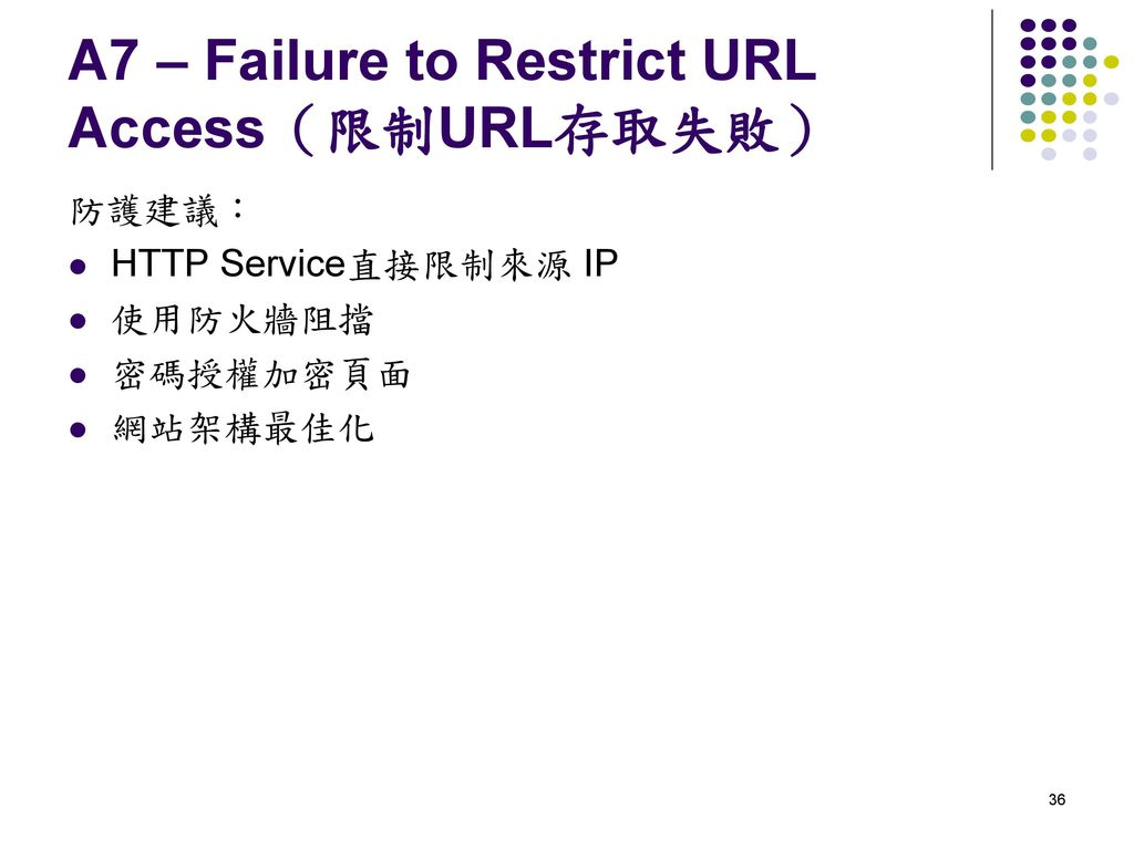 A7 – Failure to Restrict URL Access(限制URL存取失敗)