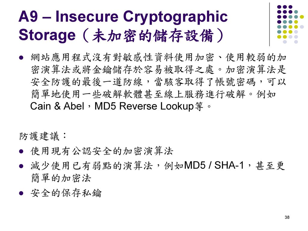 A9 – Insecure Cryptographic Storage(未加密的儲存設備)