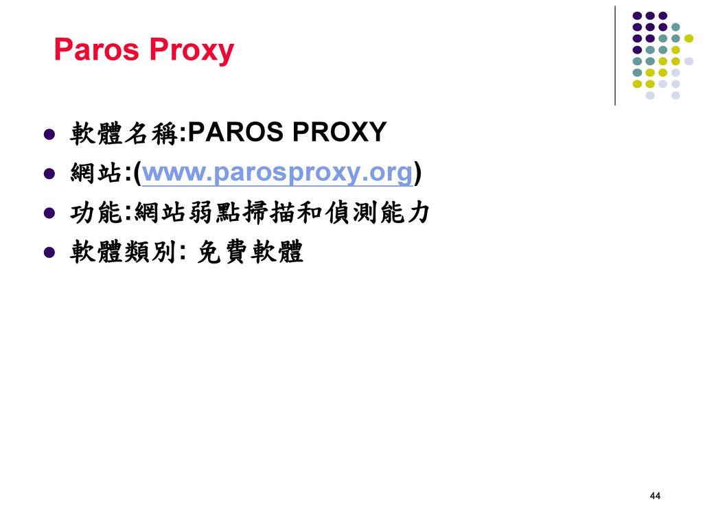 Paros Proxy 軟體名稱:PAROS PROXY 網站:(www.parosproxy.org) 功能:網站弱點掃描和偵測能力