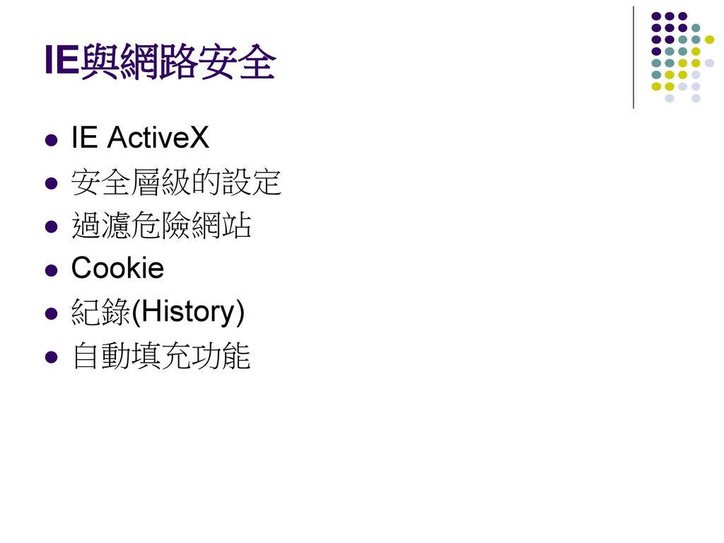 IE與網路安全 IE ActiveX 安全層級的設定 過濾危險網站 Cookie 紀錄(History) 自動填充功能