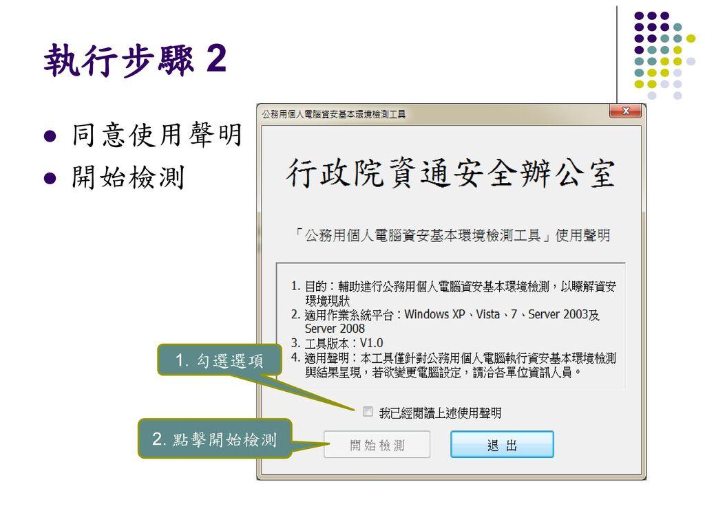 執行步驟 2 1. 勾選選項 2. 點擊開始檢測 同意使用聲明 開始檢測