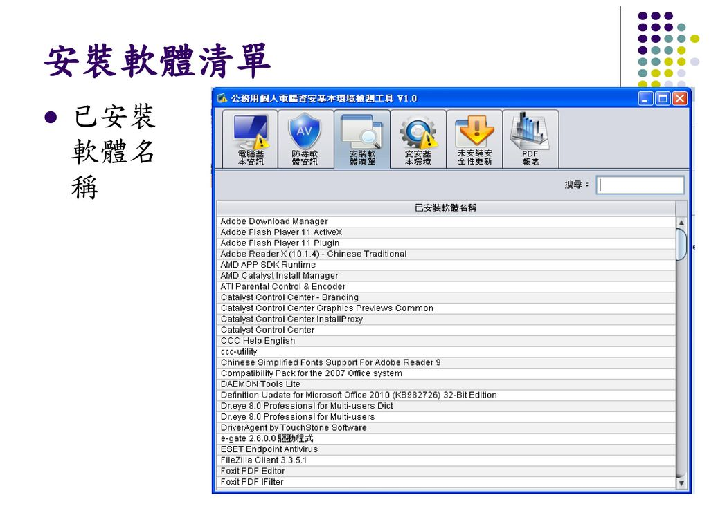 安裝軟體清單 已安裝軟體名稱