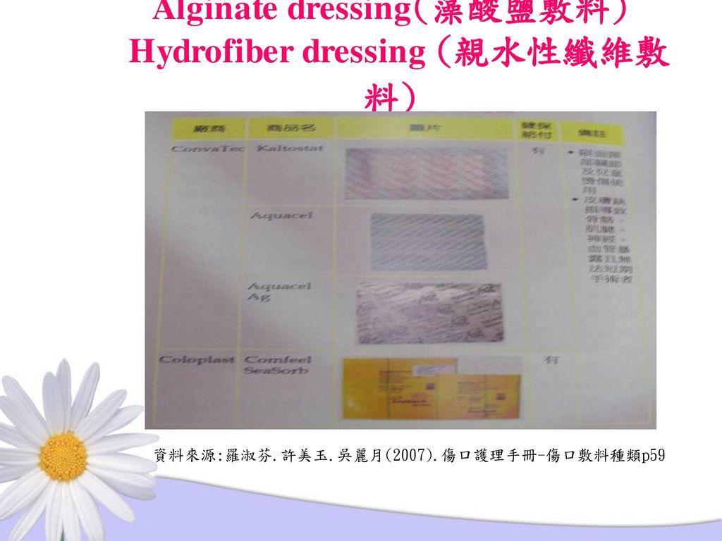 Alginate dressing(藻酸鹽敷料) Hydrofiber dressing (親水性纖維敷料)