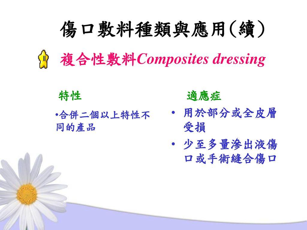 傷口敷料種類與應用(續) 複合性敷料Composites dressing 特性 適應症 用於部分或全皮層受損