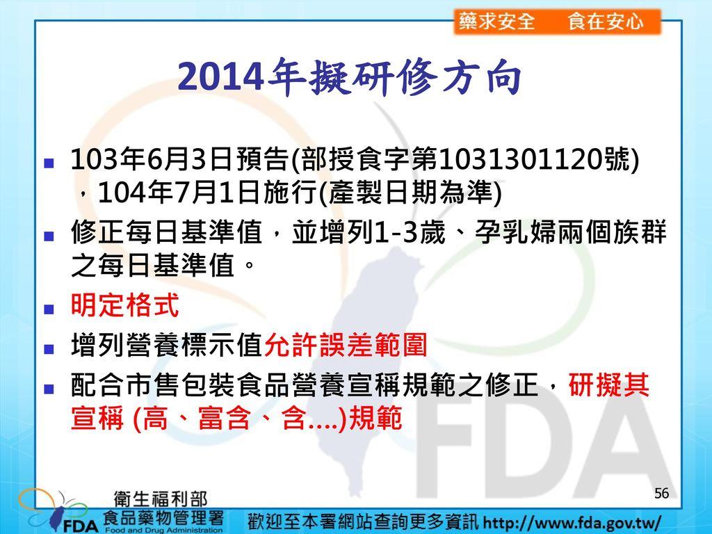 2014年擬研修方向 103年6月3日預告(部授食字第1031301120號) ,104年7月1日施行(產製日期為準)