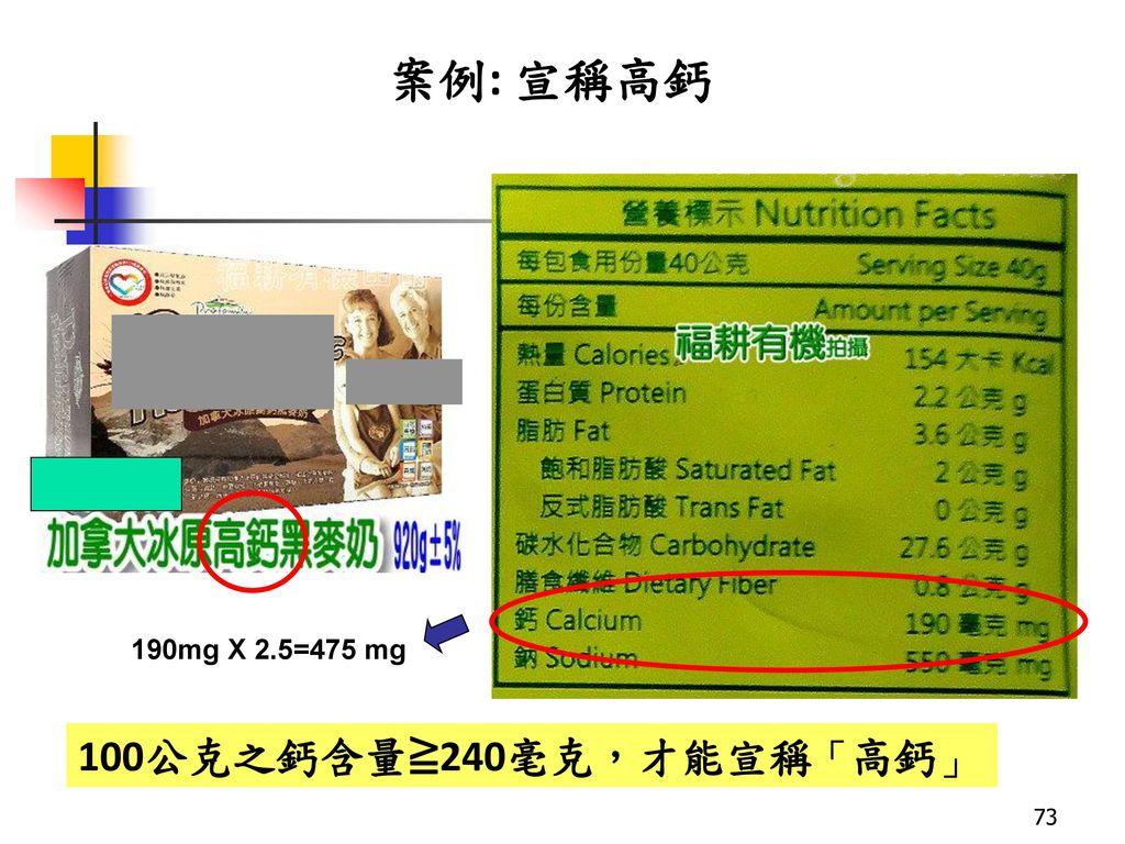 案例: 宣稱高鈣 190mg X 2.5=475 mg 100公克之鈣含量≧240毫克,才能宣稱「高鈣」