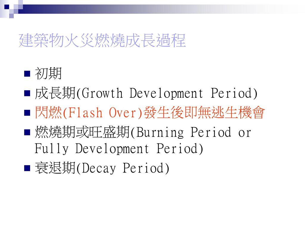 建築物火災燃燒成長過程 初期 成長期(Growth Development Period) 閃燃(Flash Over)發生後即無逃生機會