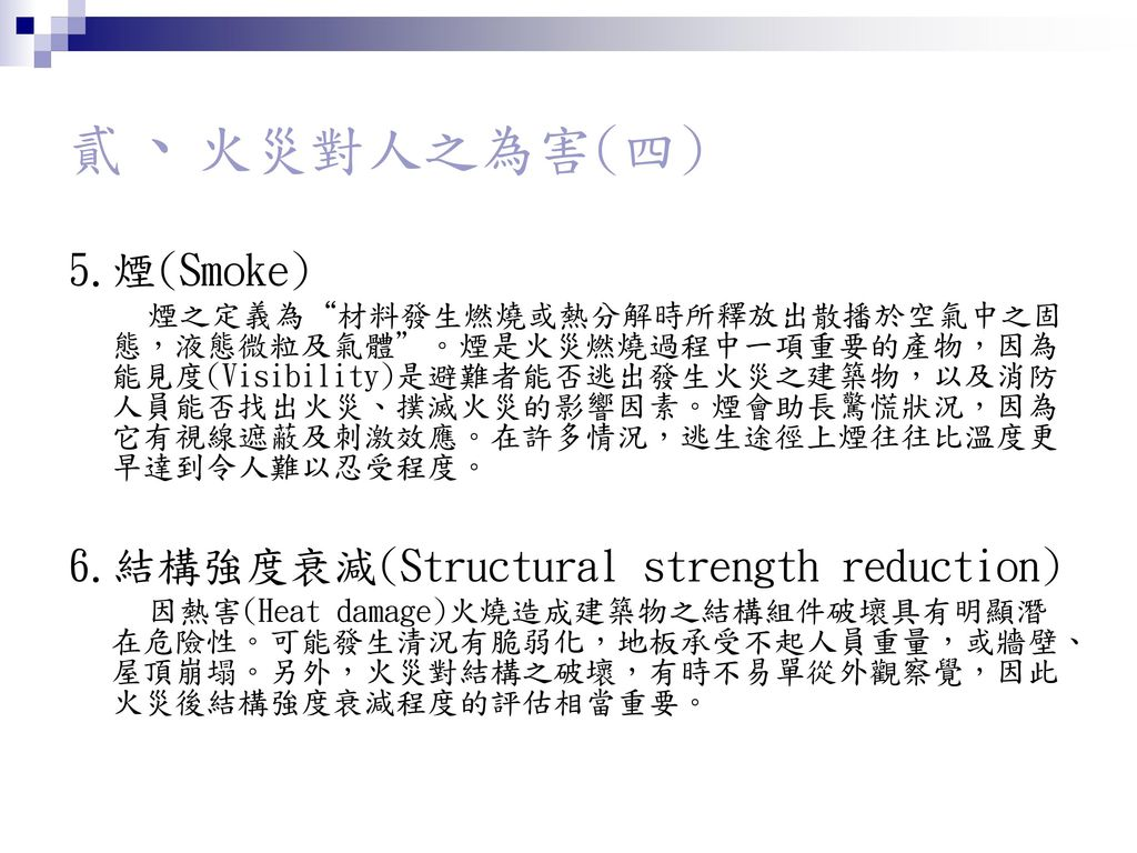 貳、火災對人之為害(四) 5.煙(Smoke) 6.結構強度衰減(Structural strength reduction)