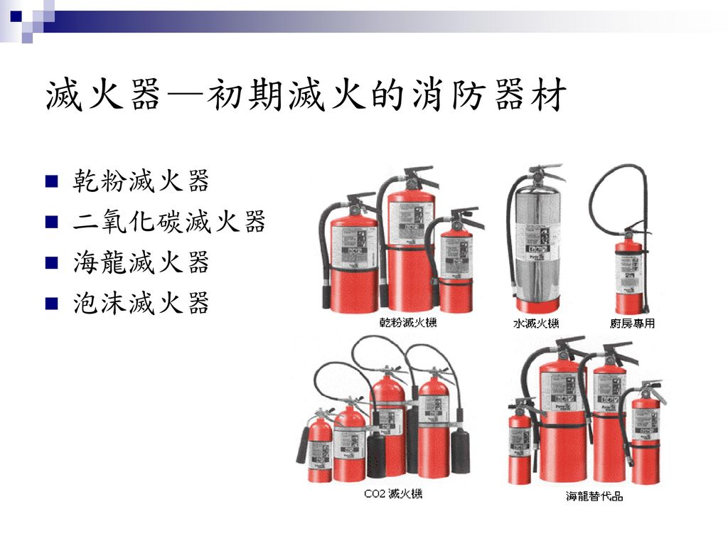 滅火器—初期滅火的消防器材 乾粉滅火器 二氧化碳滅火器 海龍滅火器 泡沫滅火器