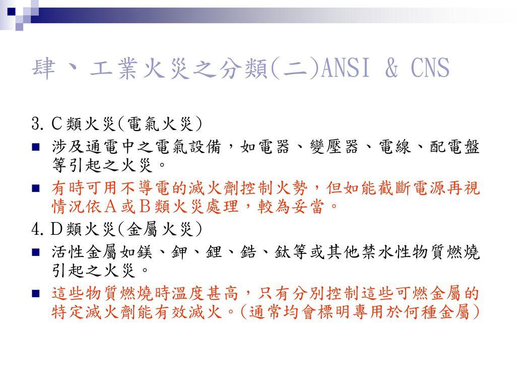 肆、工業火災之分類(二)ANSI & CNS