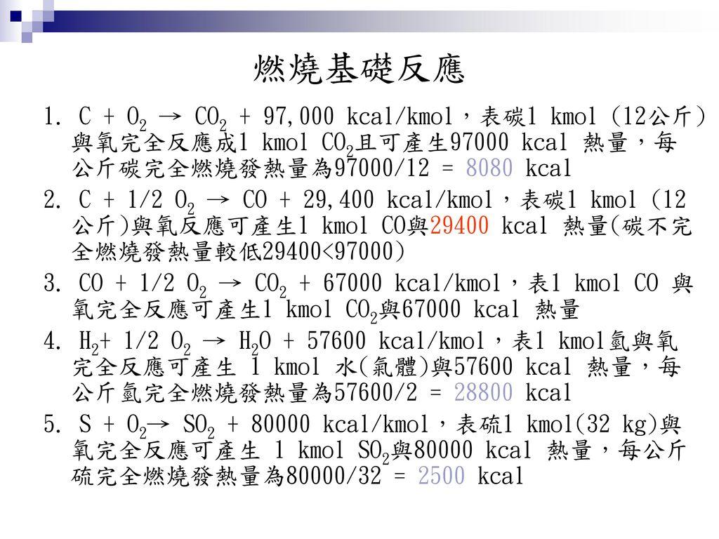 燃燒基礎反應 1. C + O2 → CO2 + 97,000 kcal/kmol,表碳1 kmol (12公斤)與氧完全反應成1 kmol CO2且可產生97000 kcal 熱量,每公斤碳完全燃燒發熱量為97000/12 = 8080 kcal.