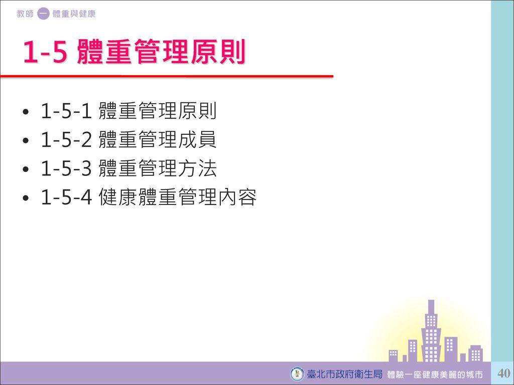 1-5 體重管理原則 1-5-1 體重管理原則 1-5-2 體重管理成員 1-5-3 體重管理方法 1-5-4 健康體重管理內容