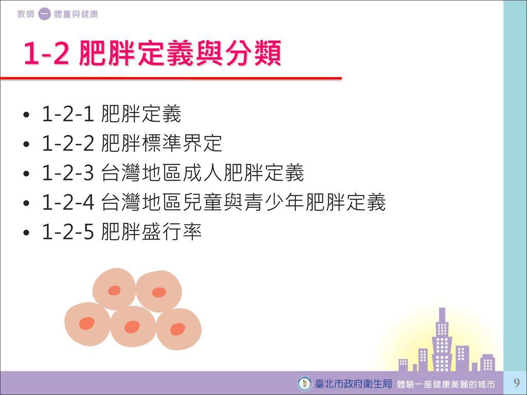 1-2 肥胖定義與分類 1-2-1 肥胖定義 1-2-2 肥胖標準界定 1-2-3 台灣地區成人肥胖定義