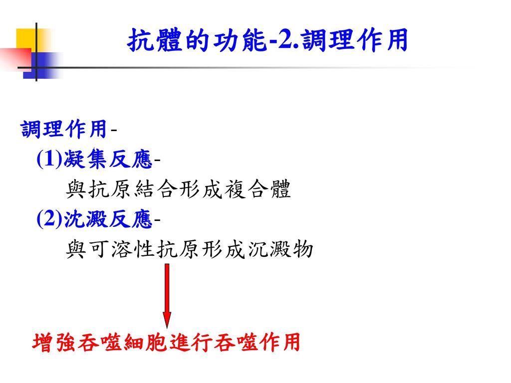 抗體的功能-2.調理作用 調理作用- (1)凝集反應- 與抗原結合形成複合體 (2)沈澱反應- 與可溶性抗原形成沉澱物