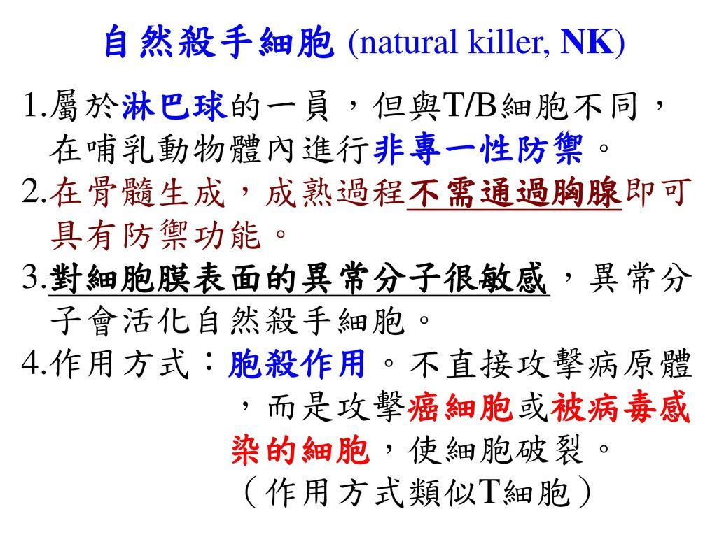 自然殺手細胞 (natural killer, NK)