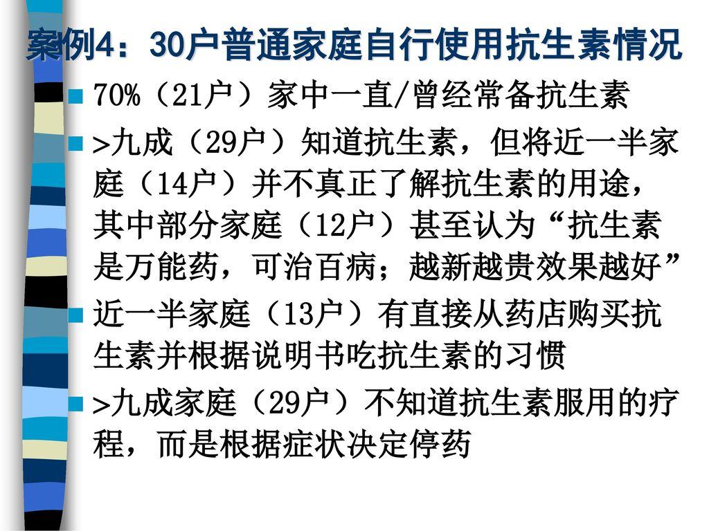 案例4:30户普通家庭自行使用抗生素情况 70%(21户)家中一直/曾经常备抗生素