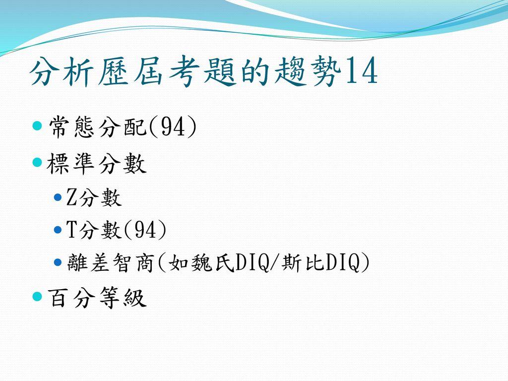 分析歷屆考題的趨勢14 常態分配(94) 標準分數 Z分數 T分數(94) 離差智商(如魏氏DIQ/斯比DIQ) 百分等級