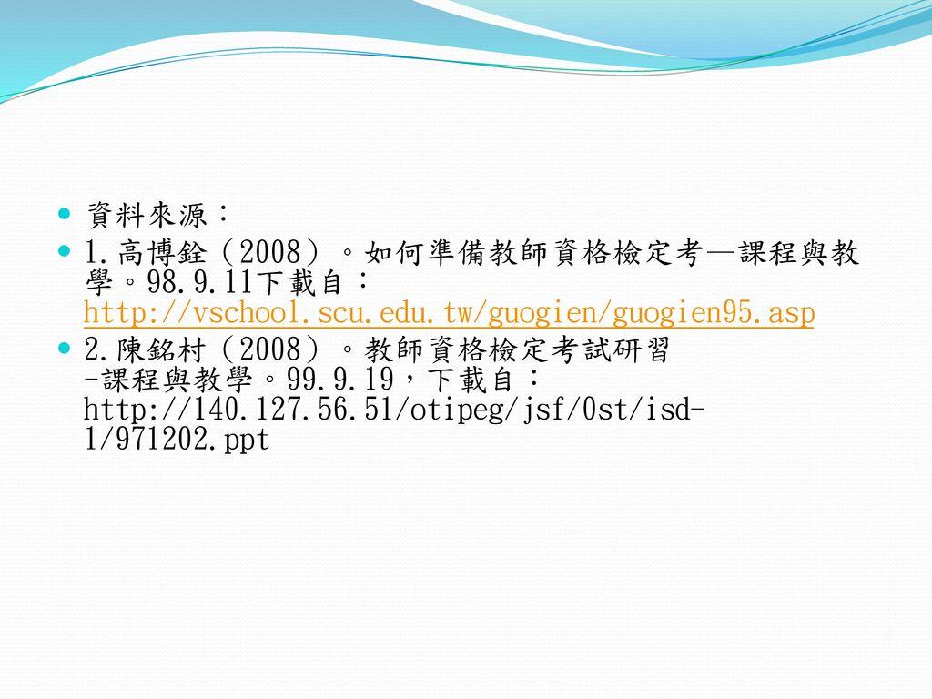 資料來源: 1.高博銓(2008)。如何準備教師資格檢定考—課程與教學。98.9.11下載自:http://vschool.scu.edu.tw/guogien/guogien95.asp.