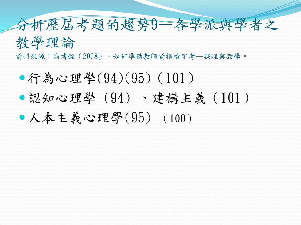 分析歷屆考題的趨勢9—各學派與學者之教學理論 資料來源:高博銓(2008)。如何準備教師資格檢定考—課程與教學。