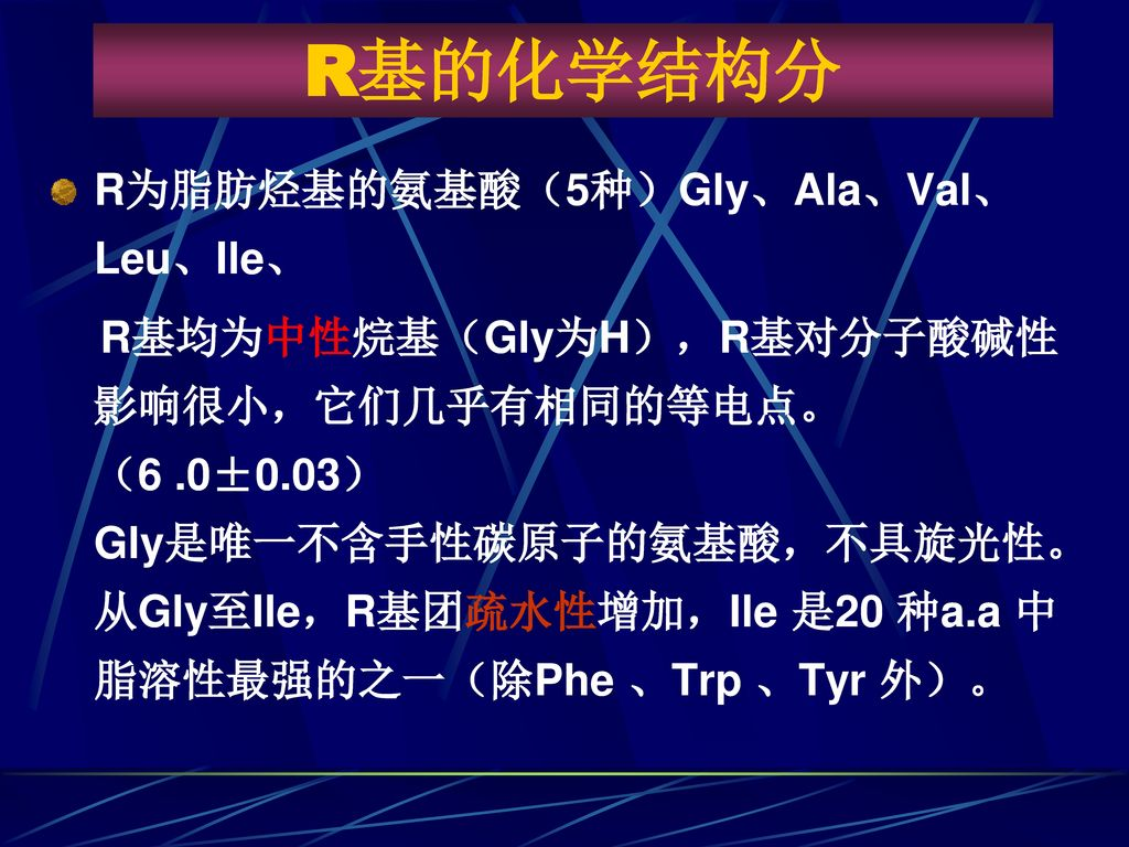 R基的化学结构分 R为脂肪烃基的氨基酸(5种)Gly、Ala、Val、Leu、Ile、