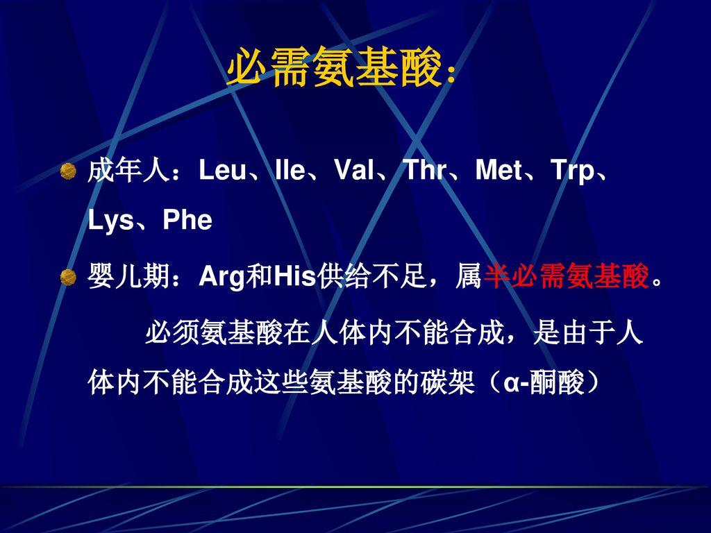 必需氨基酸: 成年人:Leu、Ile、Val、Thr、Met、Trp、Lys、Phe 婴儿期:Arg和His供给不足,属半必需氨基酸。