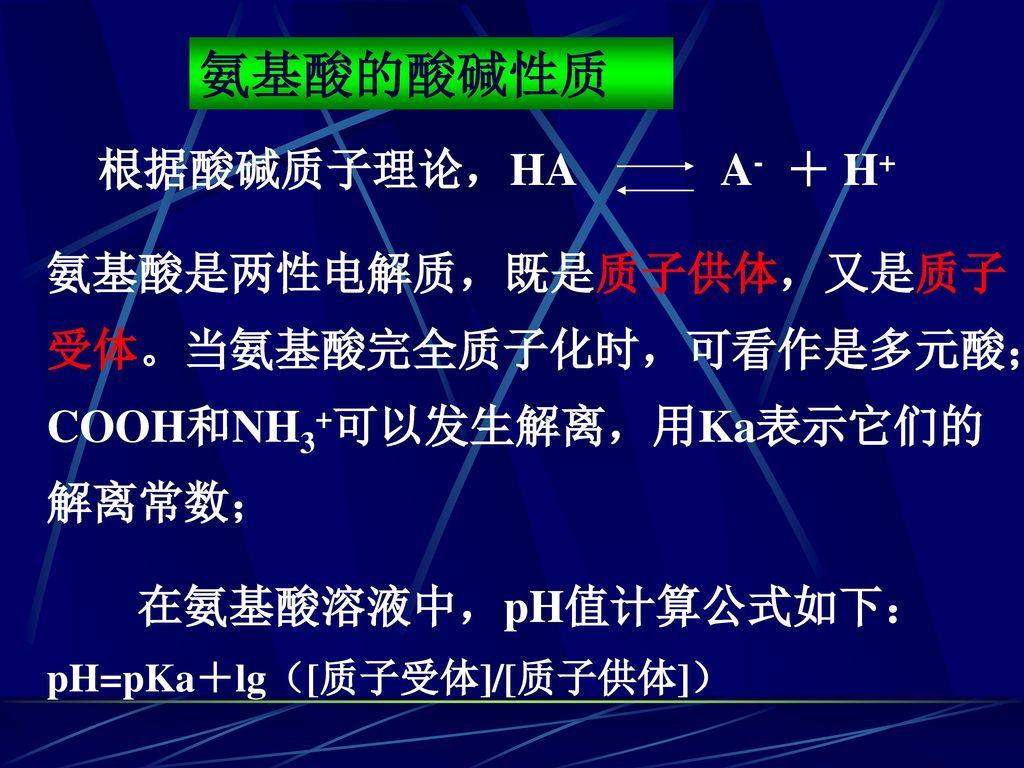 氨基酸的酸碱性质 根据酸碱质子理论,HA A- + H+ 氨基酸是两性电解质,既是质子供体,又是质子受体。当氨基酸完全质子化时,可看作是多元酸;COOH和NH3+可以发生解离,用Ka表示它们的解离常数;