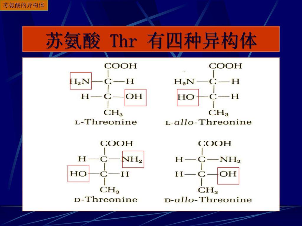 苏氨酸的异构体 苏氨酸 Thr 有四种异构体