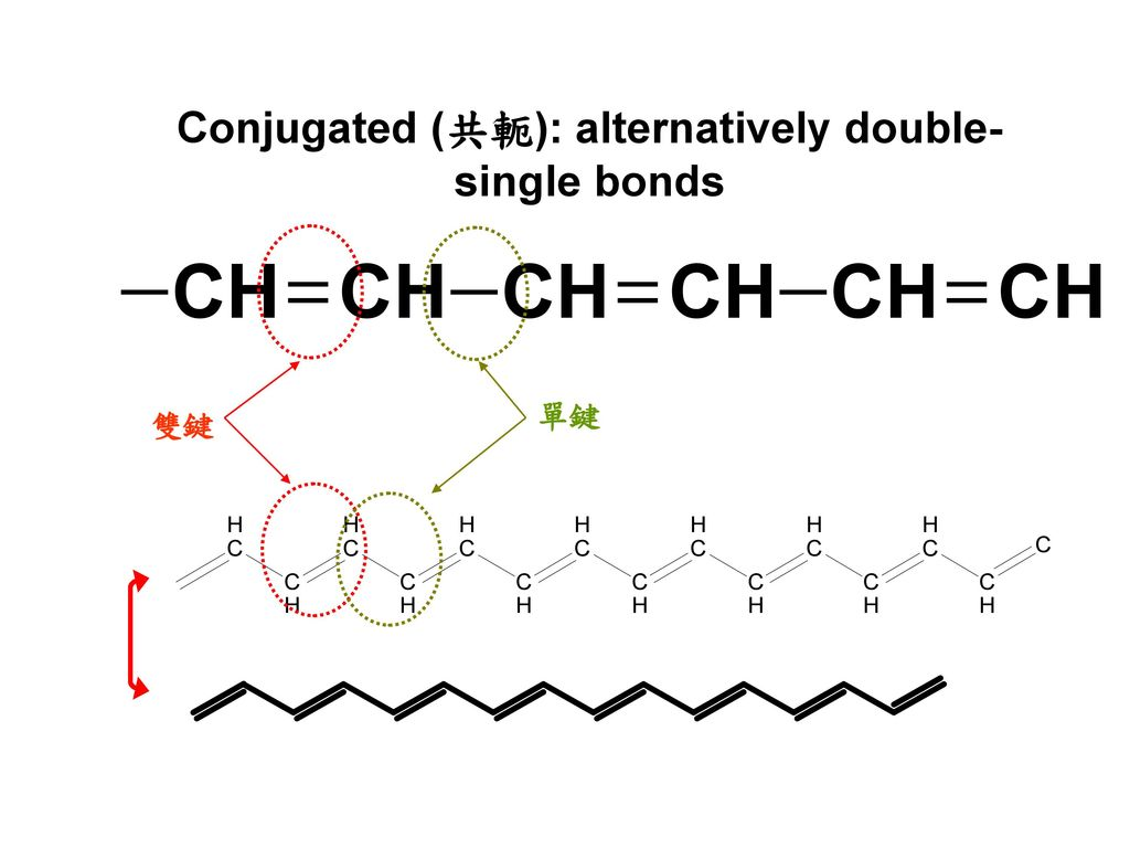 Conjugated (共軛): alternatively double-single bonds