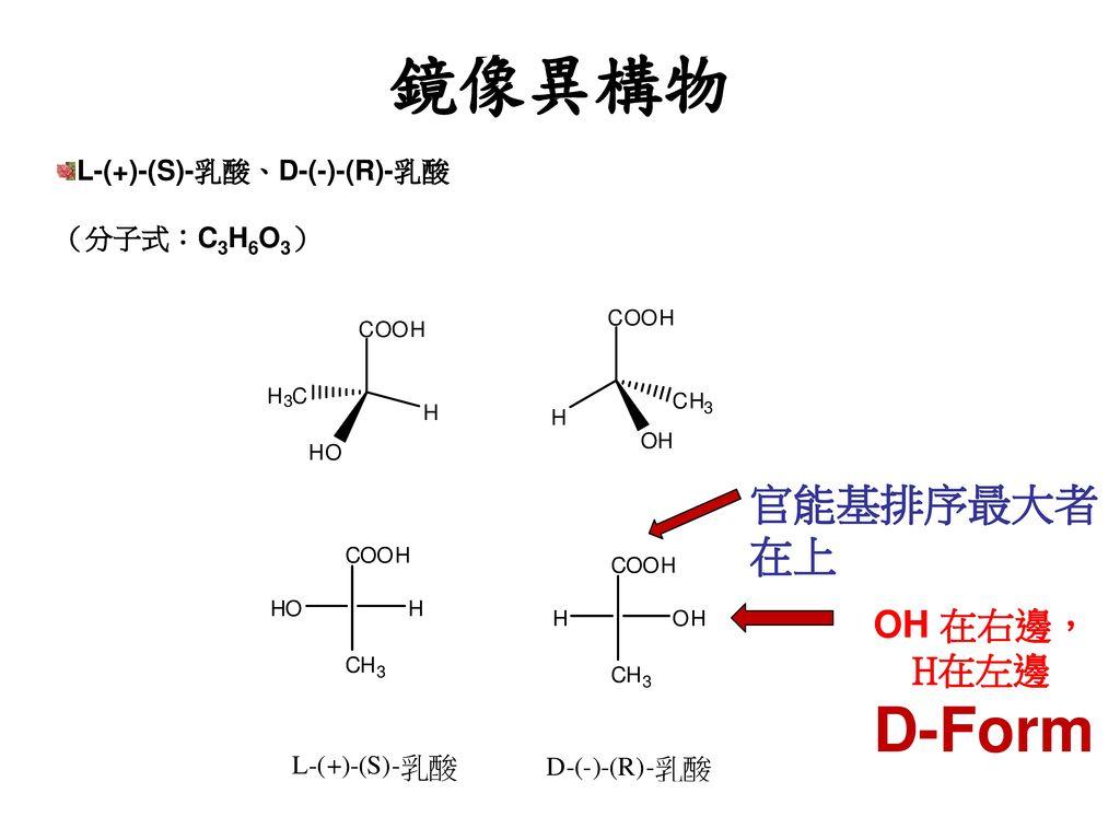 鏡像異構物 D-Form 官能基排序最大者 在上 OH 在右邊, H在左邊 L-(+)-(S)-乳酸、D-(-)-(R)-乳酸