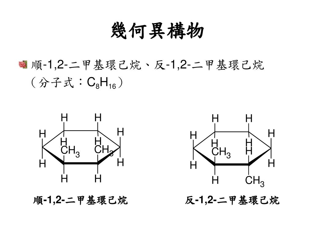 幾何異構物 順-1,2-二甲基環己烷、反-1,2-二甲基環己烷 (分子式:C8H16) 順-1,2-二甲基環己烷 反-1,2-二甲基環己烷