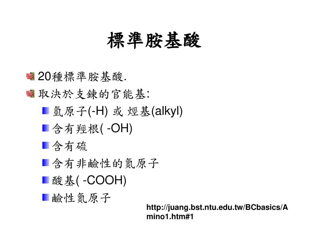 標準胺基酸 20種標準胺基酸. 取決於支鍊的官能基: 氫原子(-H) 或 烴基(alkyl) 含有羥根( -OH) 含有硫