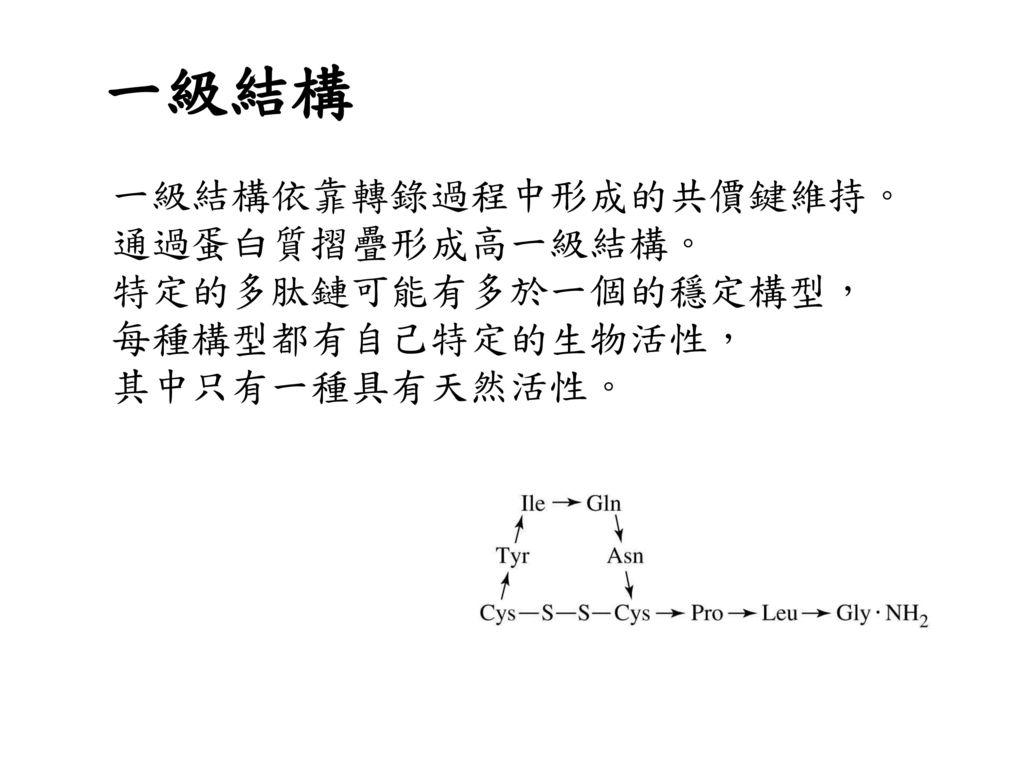 一級結構 一級結構依靠轉錄過程中形成的共價鍵維持。 通過蛋白質摺疊形成高一級結構。 特定的多肽鏈可能有多於一個的穩定構型,