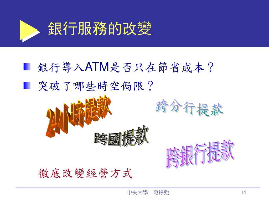 銀行服務的改變 24小時提款 跨分行提款 跨國提款 跨銀行提款 銀行導入ATM是否只在節省成本? 突破了哪些時空侷限? 徹底改變經營方式