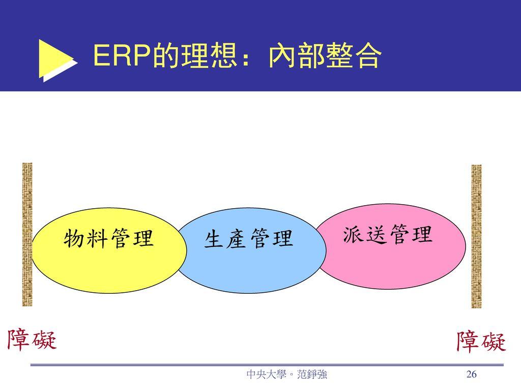 ERP的理想:內部整合 障礙 派送管理 物料管理 生產管理 中央大學。范錚強