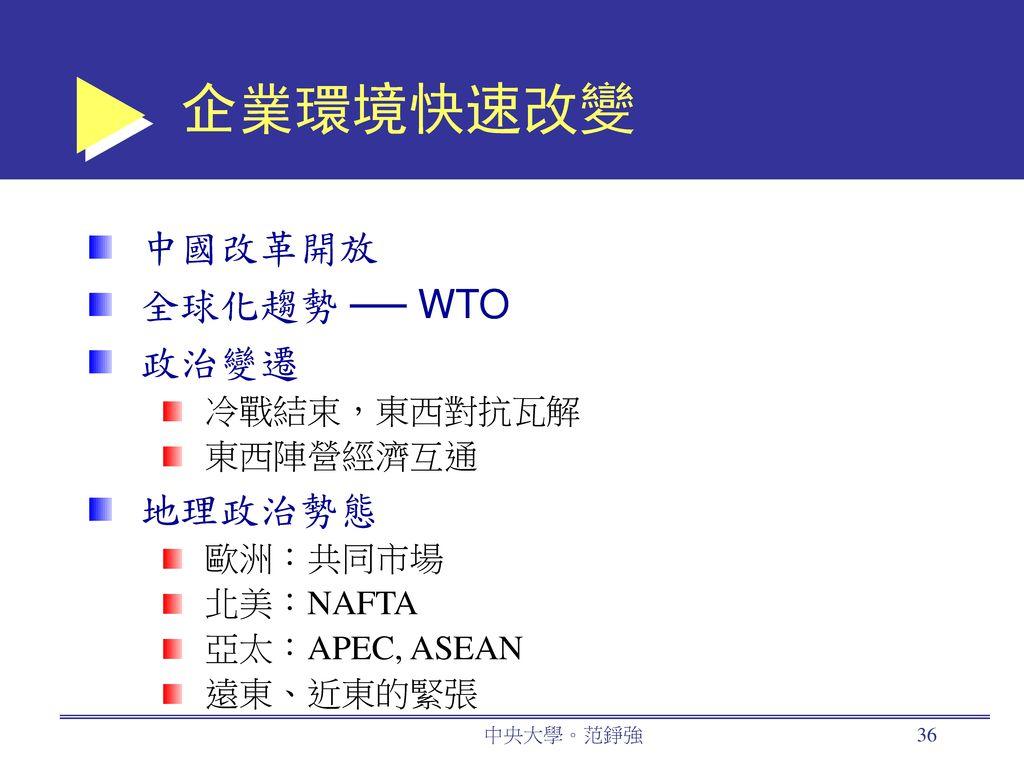 企業環境快速改變 中國改革開放 全球化趨勢 ── WTO 政治變遷 地理政治勢態 冷戰結束,東西對抗瓦解 東西陣營經濟互通 歐洲:共同市場