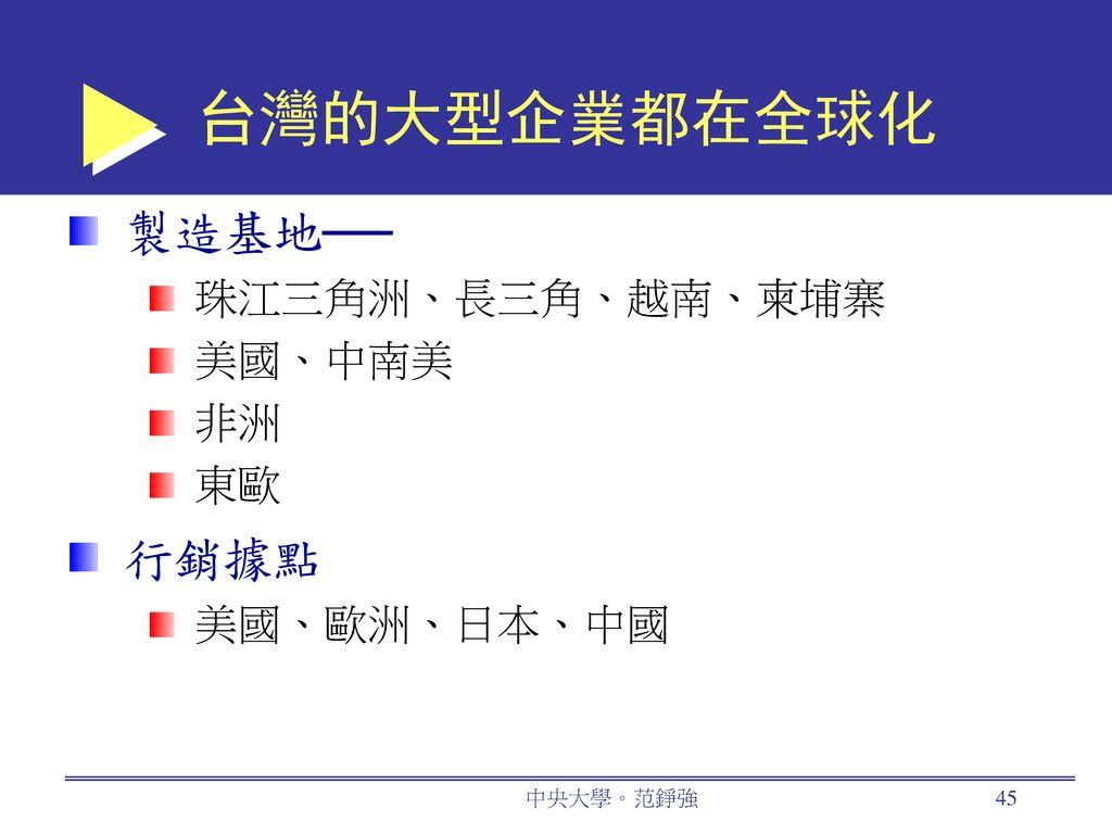 台灣的大型企業都在全球化 製造基地── 行銷據點 珠江三角洲、長三角、越南、柬埔寨 美國、中南美 非洲 東歐 美國、歐洲、日本、中國