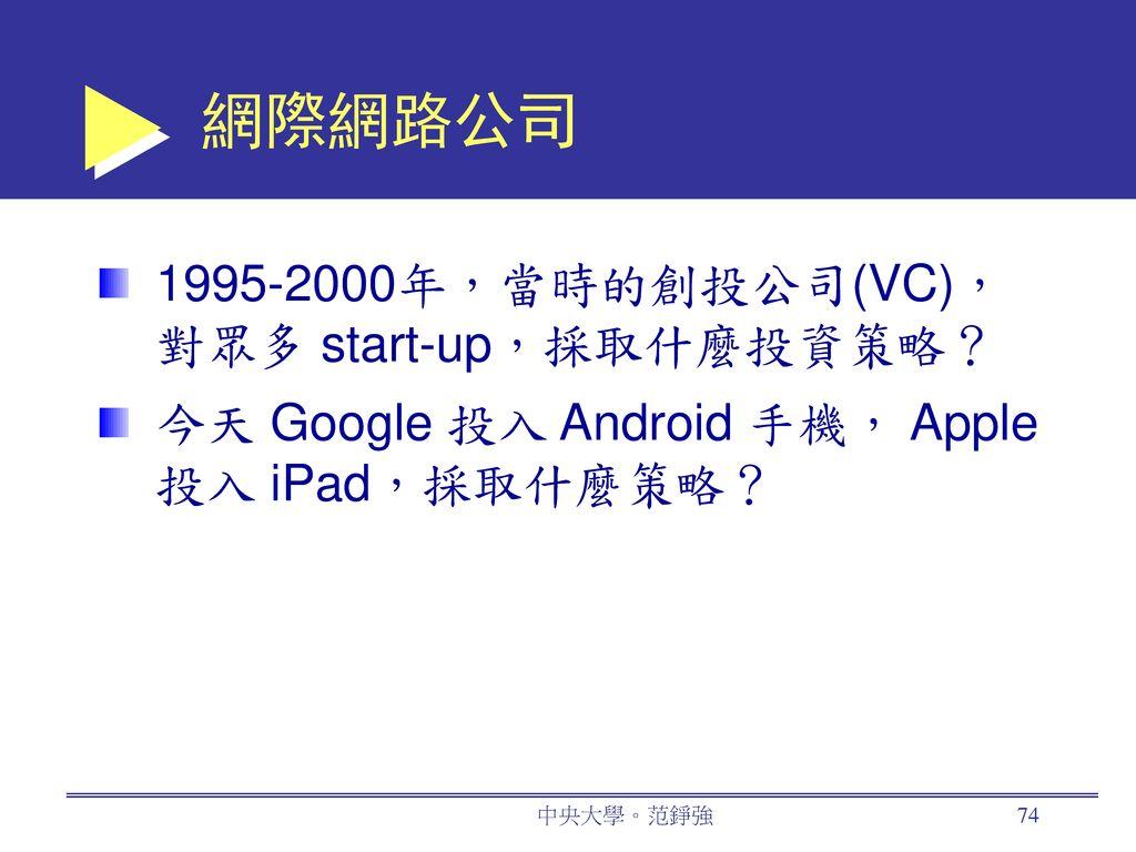 網際網路公司 1995-2000年,當時的創投公司(VC),對眾多 start-up,採取什麼投資策略?