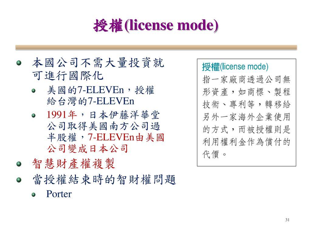 授權(license mode) 本國公司不需大量投資就 可進行國際化 智慧財產權複製 當授權結束時的智財權問題