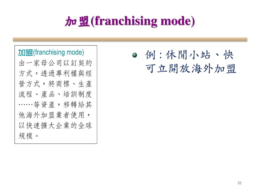 加盟(franchising mode) 例 : 休閒小站、快可立開放海外加盟