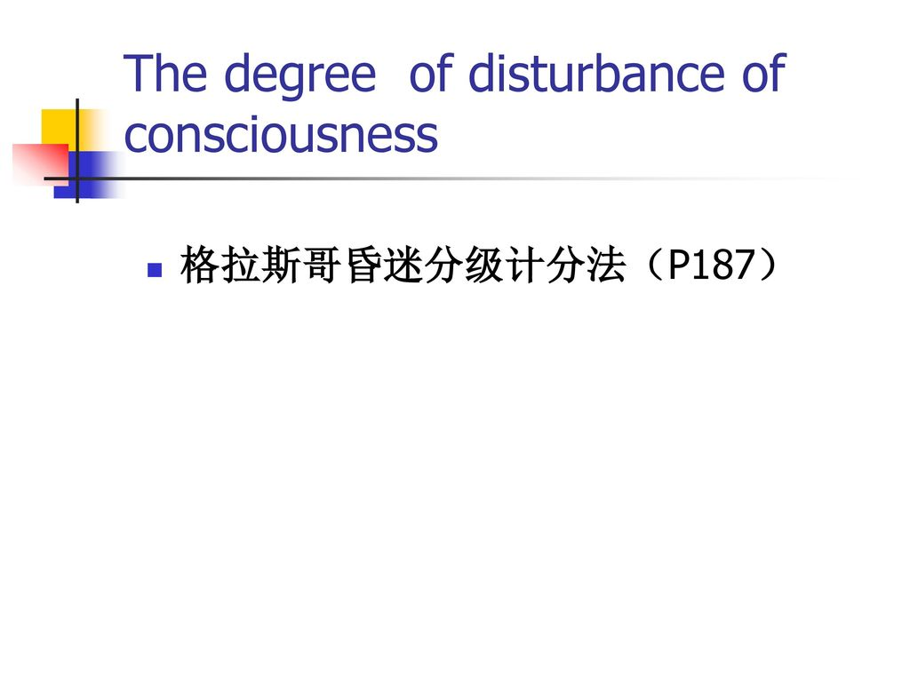 The degree of disturbance of consciousness