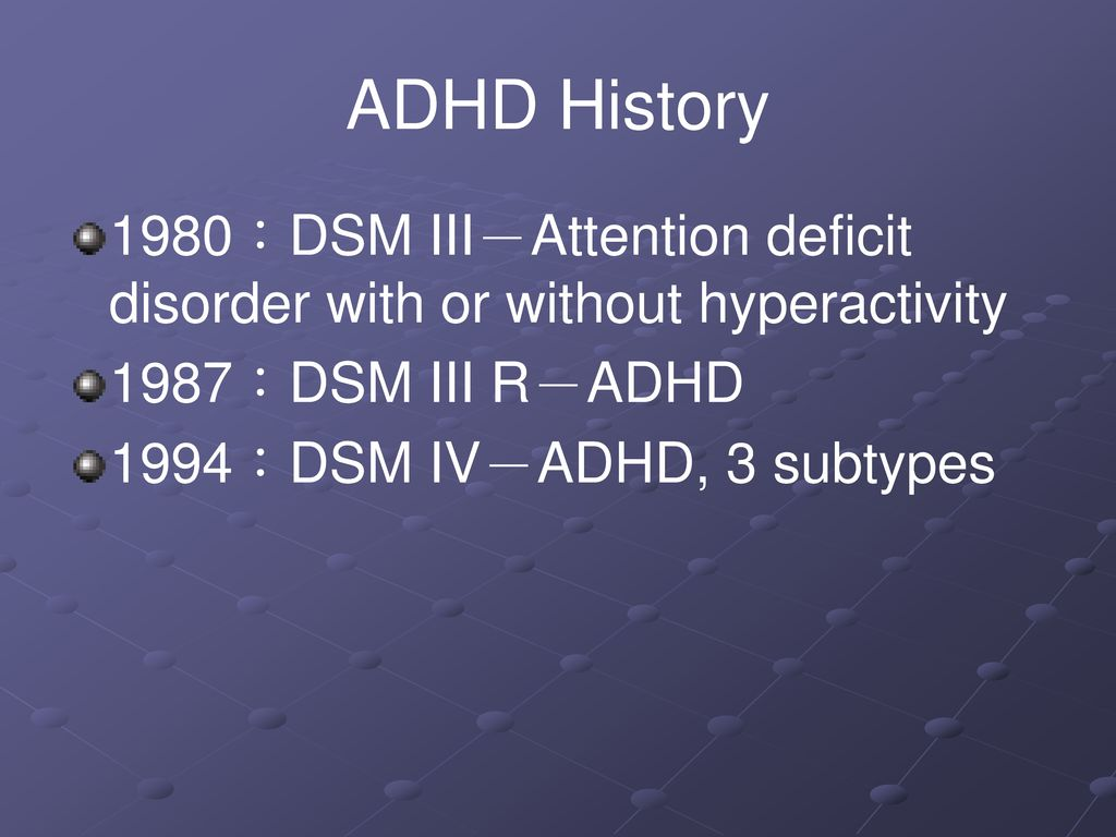 ADHD History 1980:DSM III-Attention deficit disorder with or without hyperactivity. 1987:DSM III R-ADHD.