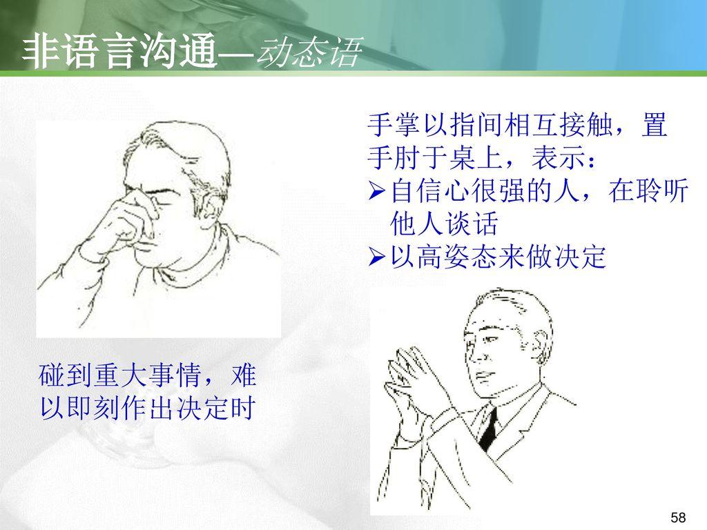 非语言沟通—动态语 手掌以指间相互接触,置 手肘于桌上,表示: 自信心很强的人,在聆听 他人谈话 以高姿态来做决定 碰到重大事情,难