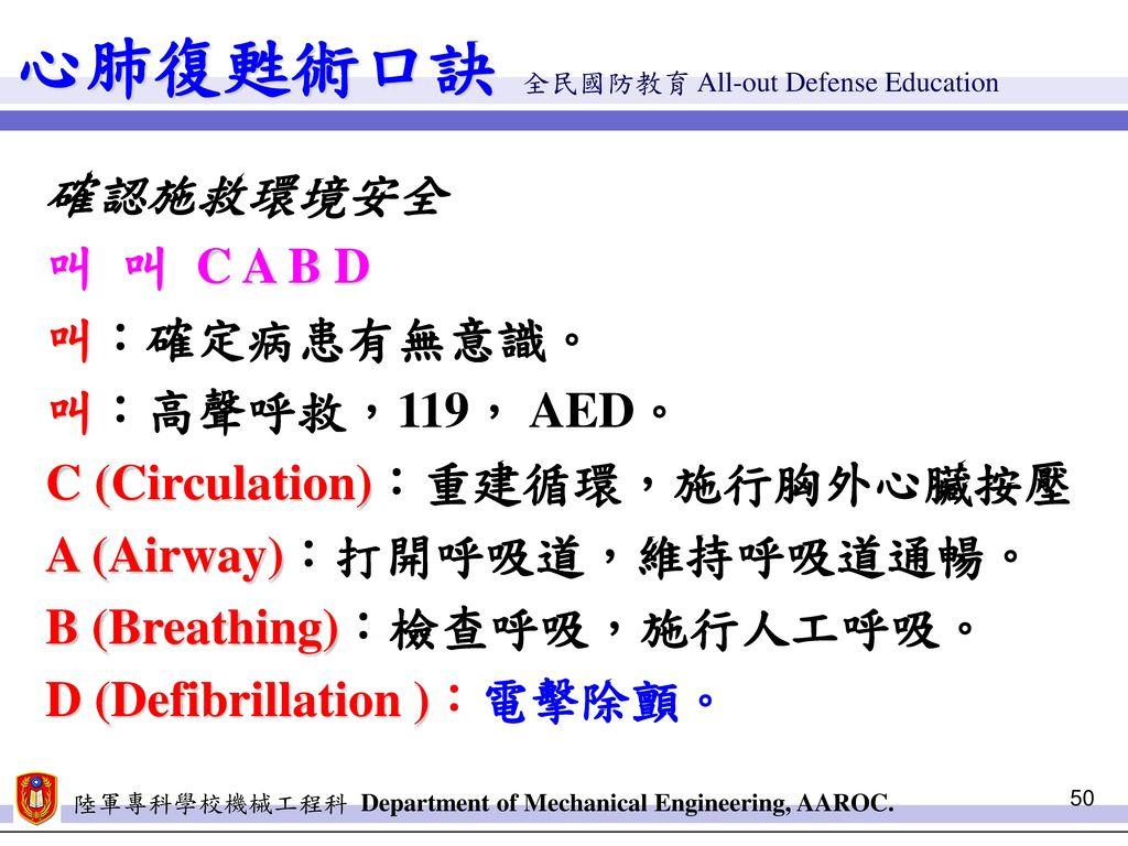 心肺復甦術口訣 確認施救環境安全 叫 叫 C A B D 叫:確定病患有無意識。 叫:高聲呼救,119, AED。