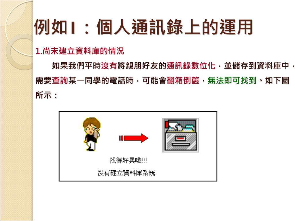 例如1:個人通訊錄上的運用 1.尚未建立資料庫的情況