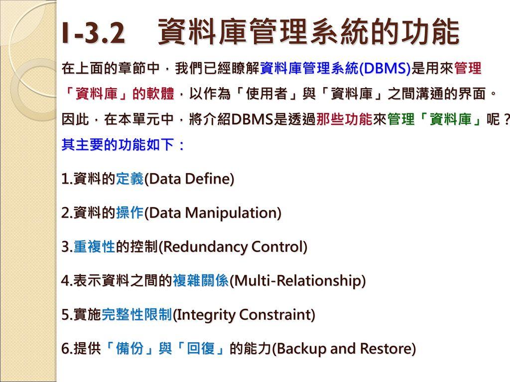 1-3.2 資料庫管理系統的功能 在上面的章節中,我們已經瞭解資料庫管理系統(DBMS)是用來管理「資料庫」的軟體,以作為「使用者」與「資料庫」之間溝通的界面。因此,在本單元中,將介紹DBMS是透過那些功能來管理「資料庫」呢?其主要的功能如下:
