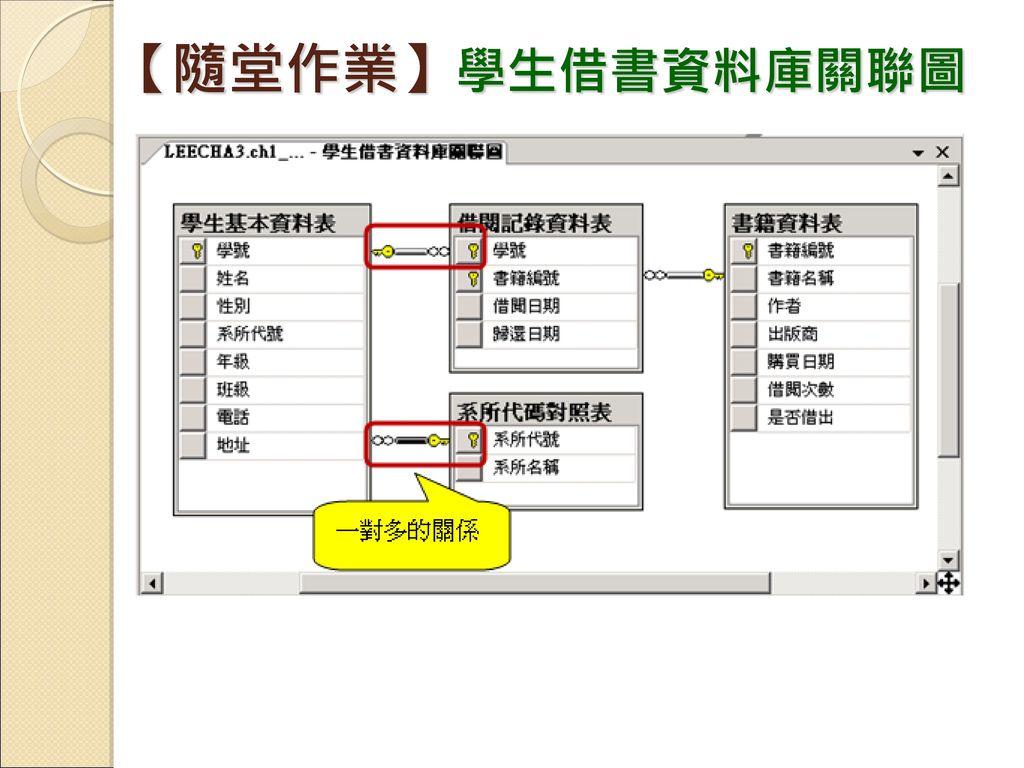 【隨堂作業】學生借書資料庫關聯圖